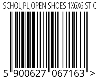 05900627067163 - SCHOL,PL,OPEN SHOES 1X6X6 STIC